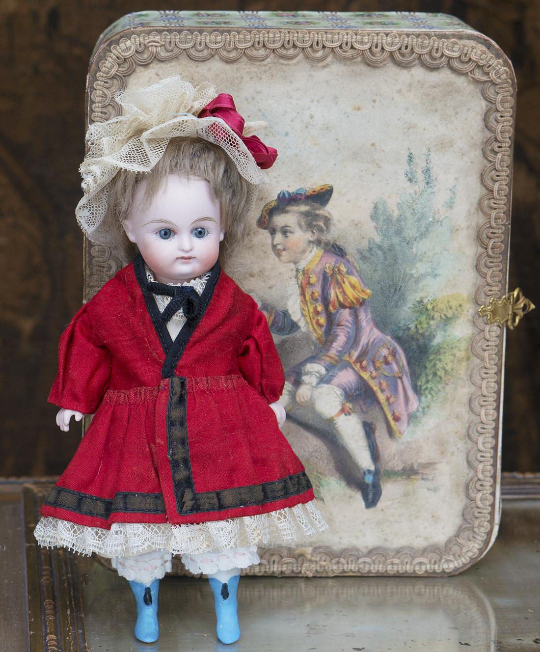 19см Фарфоровая куколка Mignonette Kestner с гардеробом