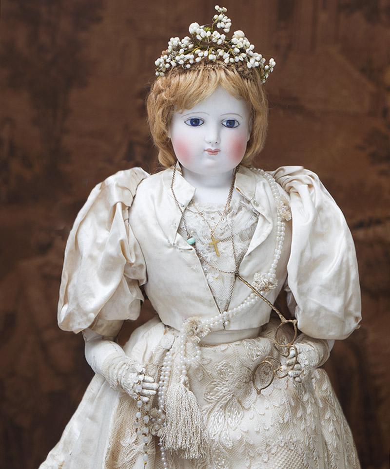 58 см Большая Французская модная кукла Barrois в оригинальном платье