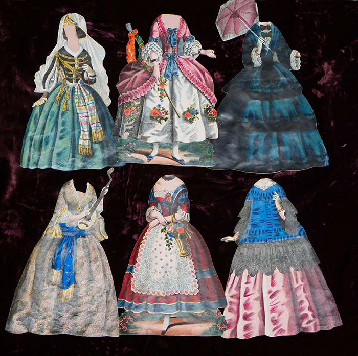 Antique 6 Paper doll costumes