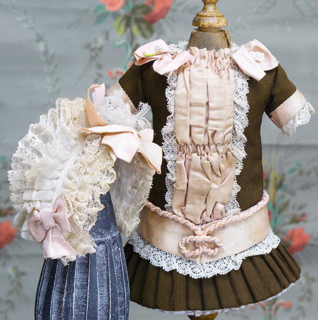Antique doll dress and bonnet
