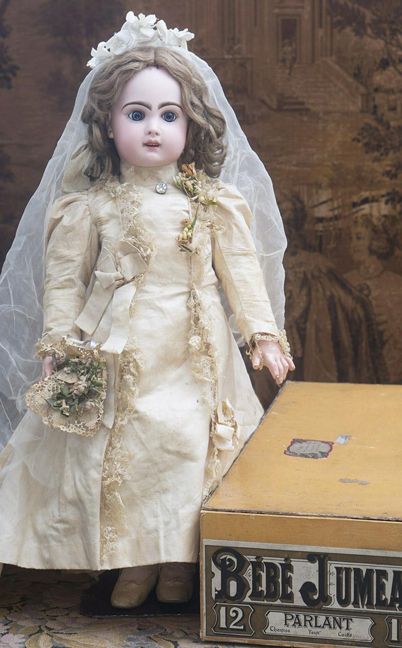 62 см Кукла Jumeau с музыкальным механизмом, в оригинальном свадебном платье и в родной коробке!