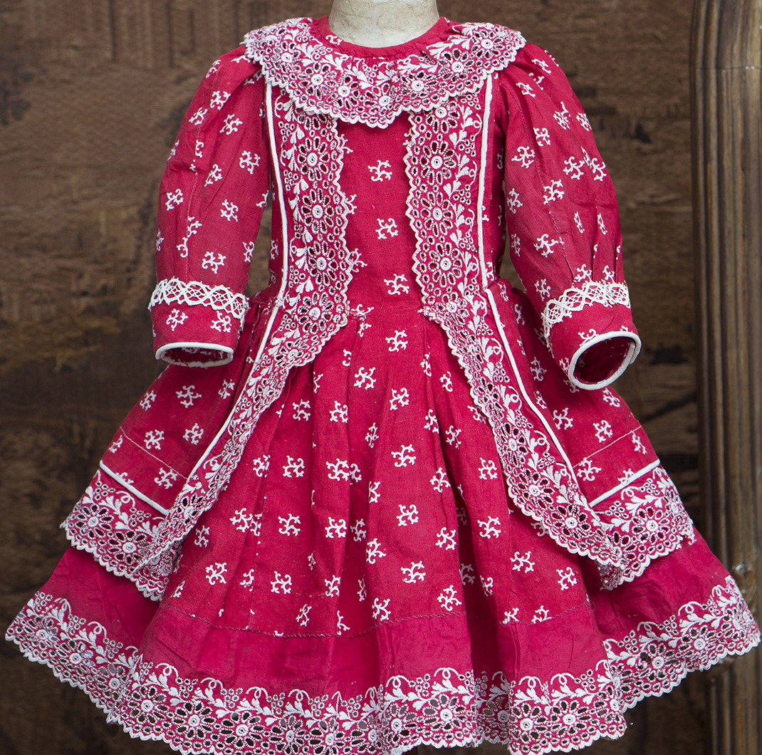 Antique red cotton dress