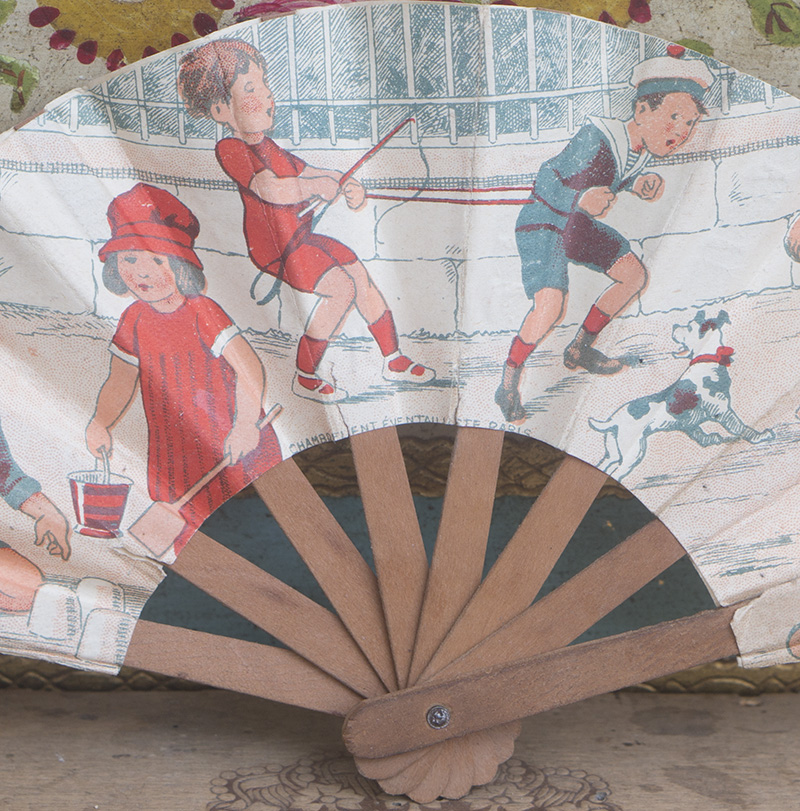 Antique doll fan