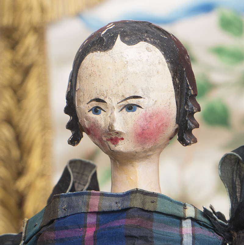 GRODNERTAL WOODEN DOLL WITH RARE PAINTED RED TORSO