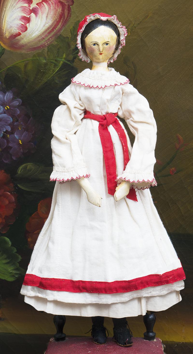 38 см Деревянная кукла Grodnertal , 1840