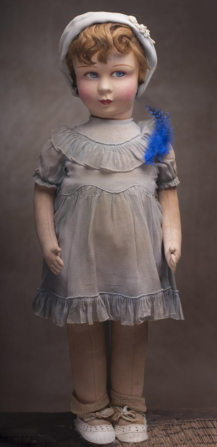 Фетровая Кукла фирмы Raynal 1920е годы, 51 см высотой