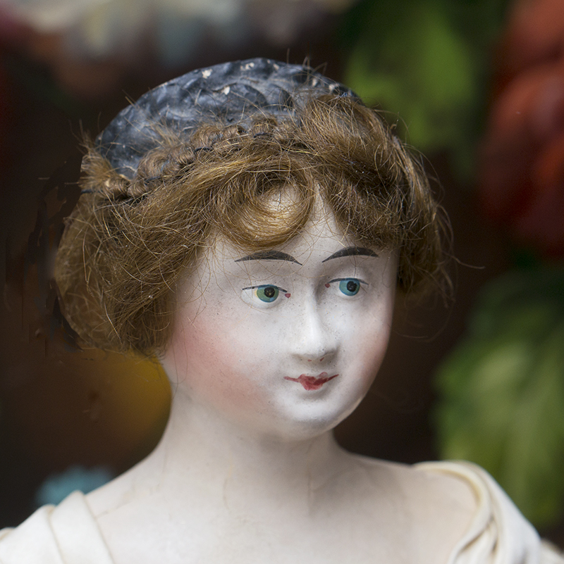 EARLY GERMAN PAPIER-MACHE LADY