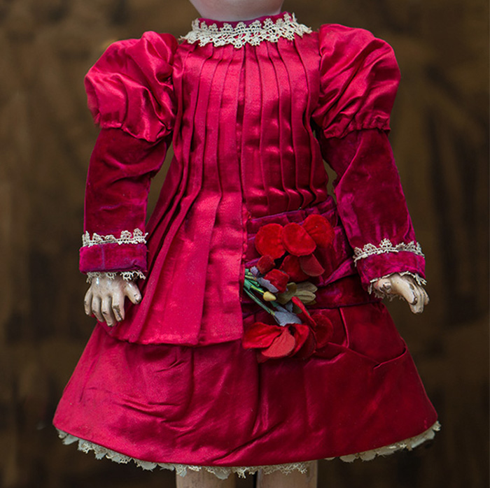 Antique Red Silk Satin dress