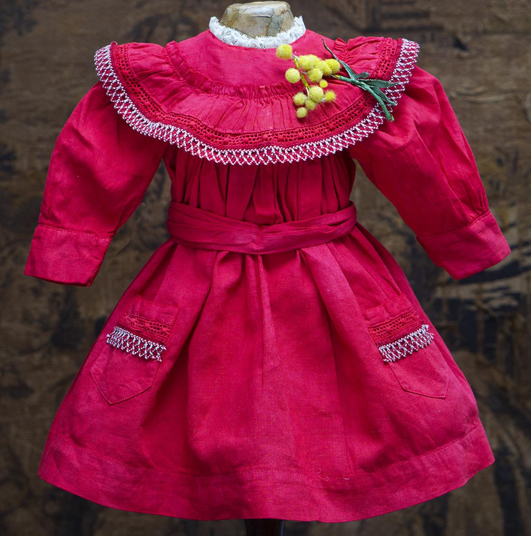 Antique red cotton dress