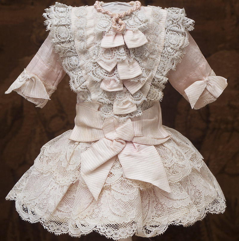 Antique Silk&Lace Dress for doll 16-17