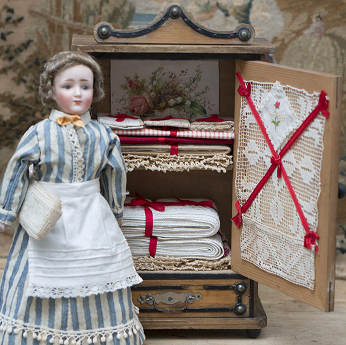 French Wooden Dolls Armoire