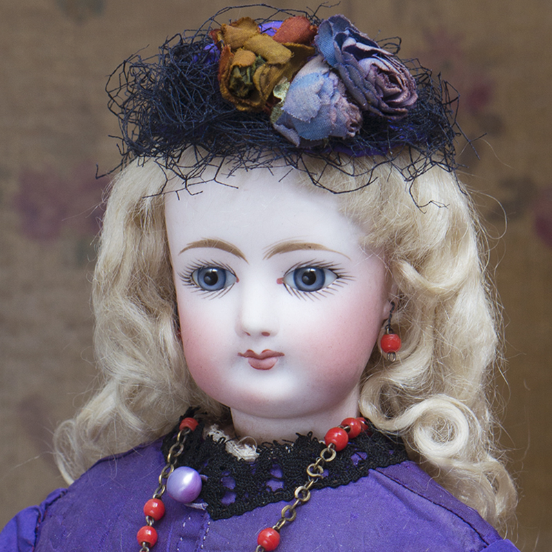 FRENCH BISQUE POUPEE IN WONDERFUL ANTIQUE COSTUME