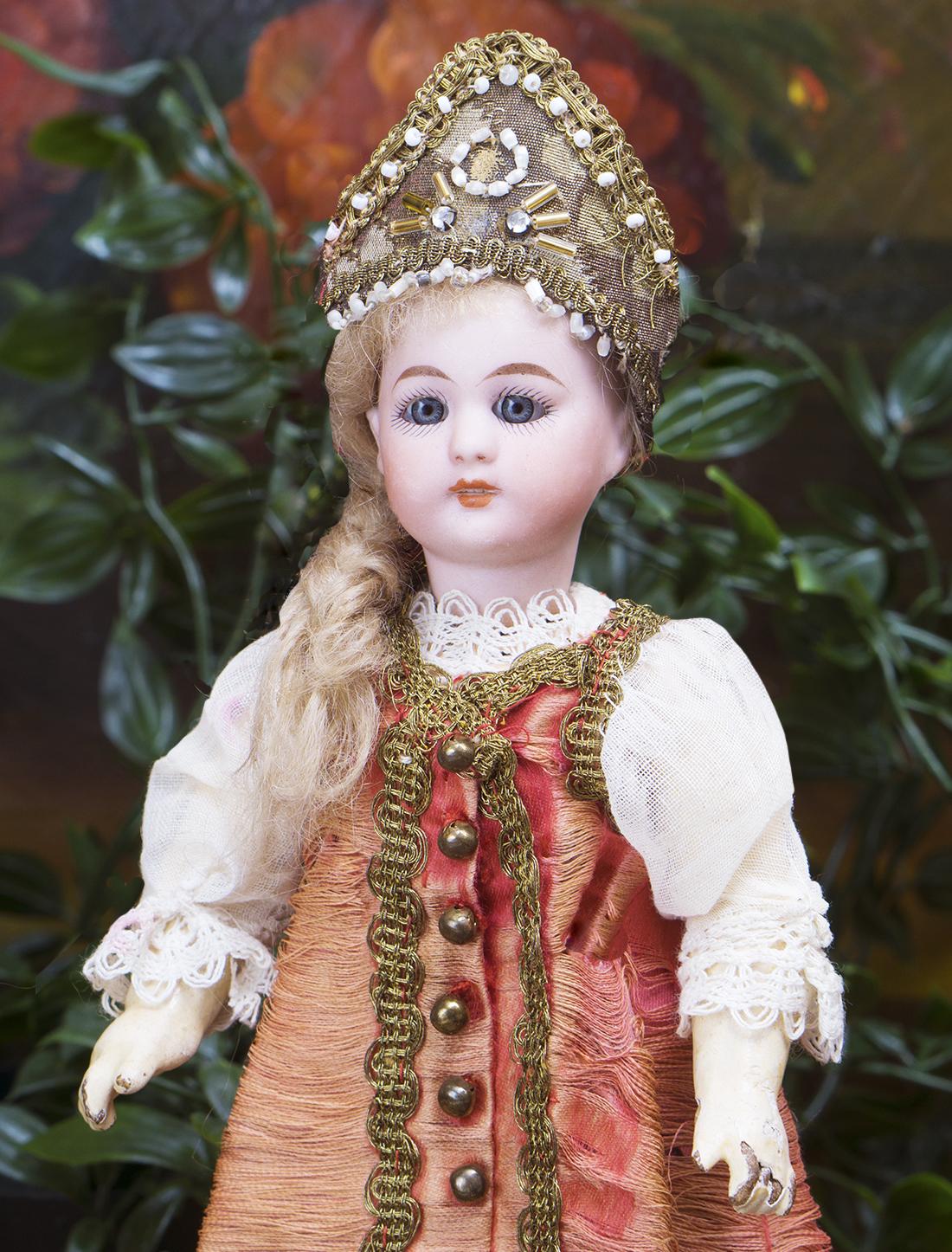 24 см Кукла Simon & Halbig  в оригинальном русском костюме, модель 1078, 1900е годы