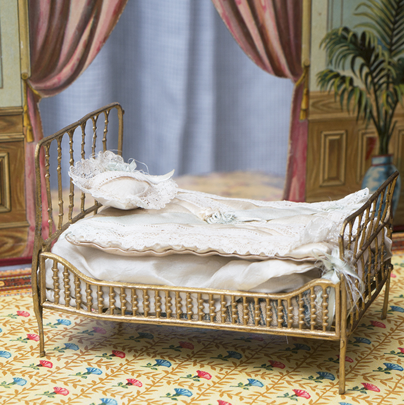 Antique Dollhouse Metal Bed