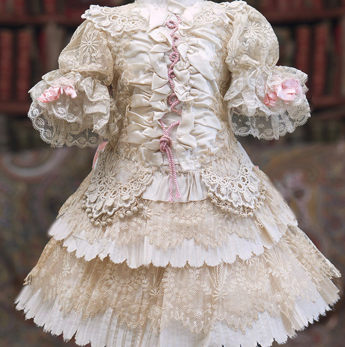 Antique Silk&Lace Dress for doll