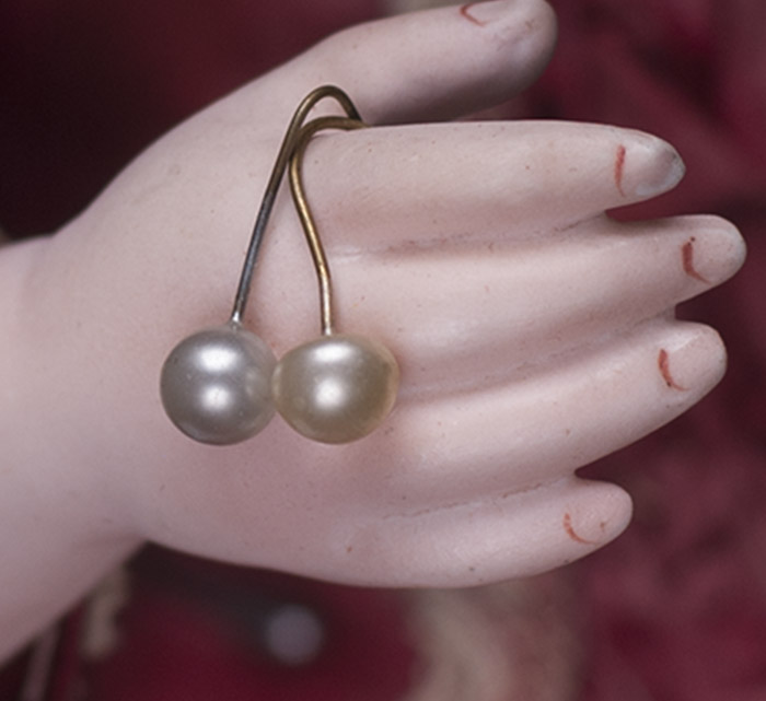 Antique Pearl earrings for doll 6