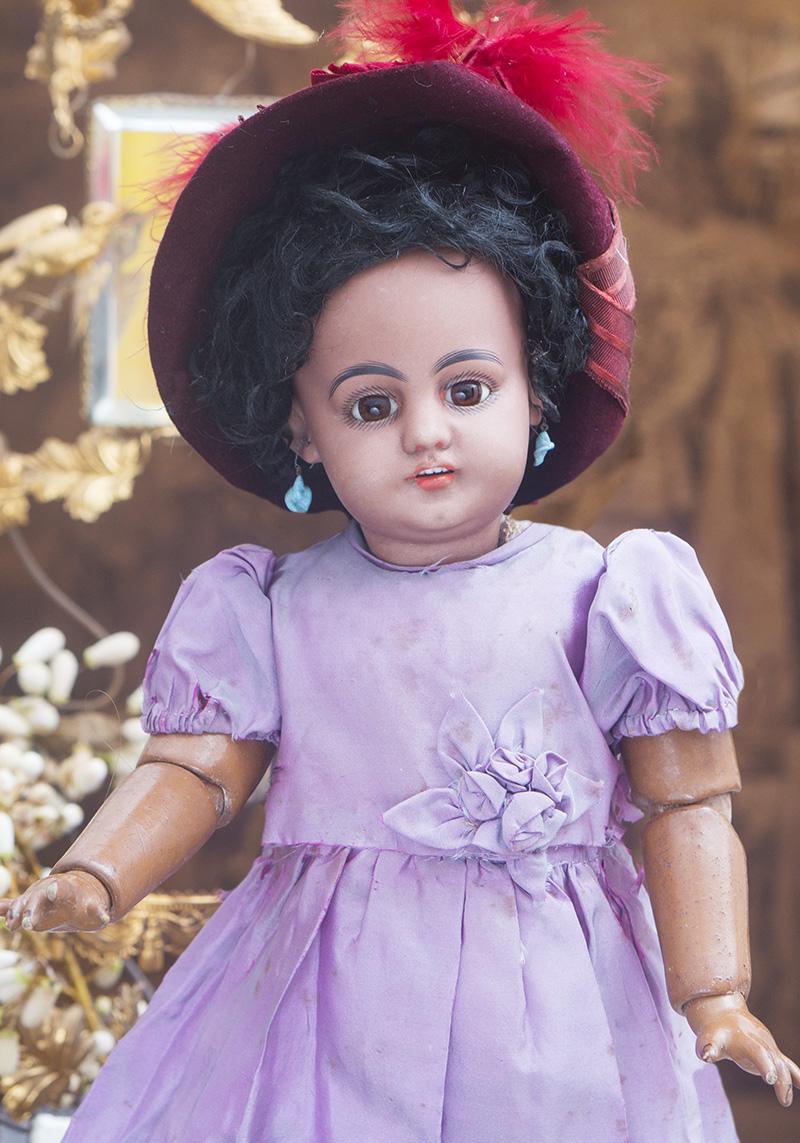 43см Редкая кукла-мулатка 739, Simon and Halbig, для французского рынка