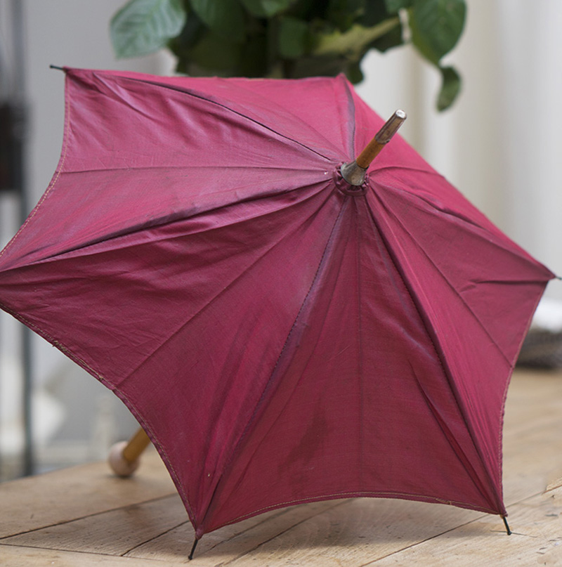 Antique Red silk parasol