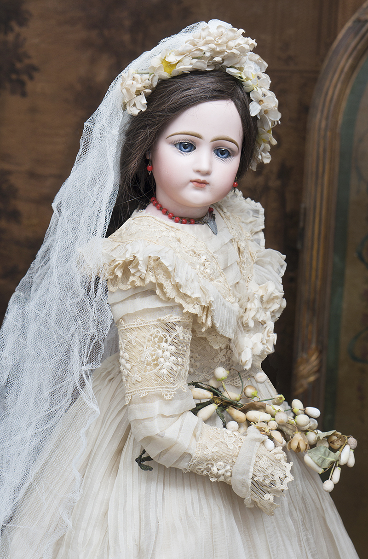 58 см Портретная Модная Кукла Jumeau в свадебном костюме, в оригинальной деревянной коробке