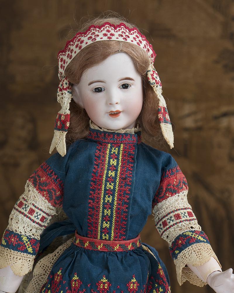 48  см редкая характерная кукла  SFBJ в русском костюме от Margaine-Lacroix