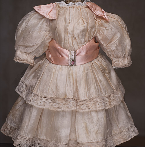 Antique Original Peach SIlk Dress for doll about