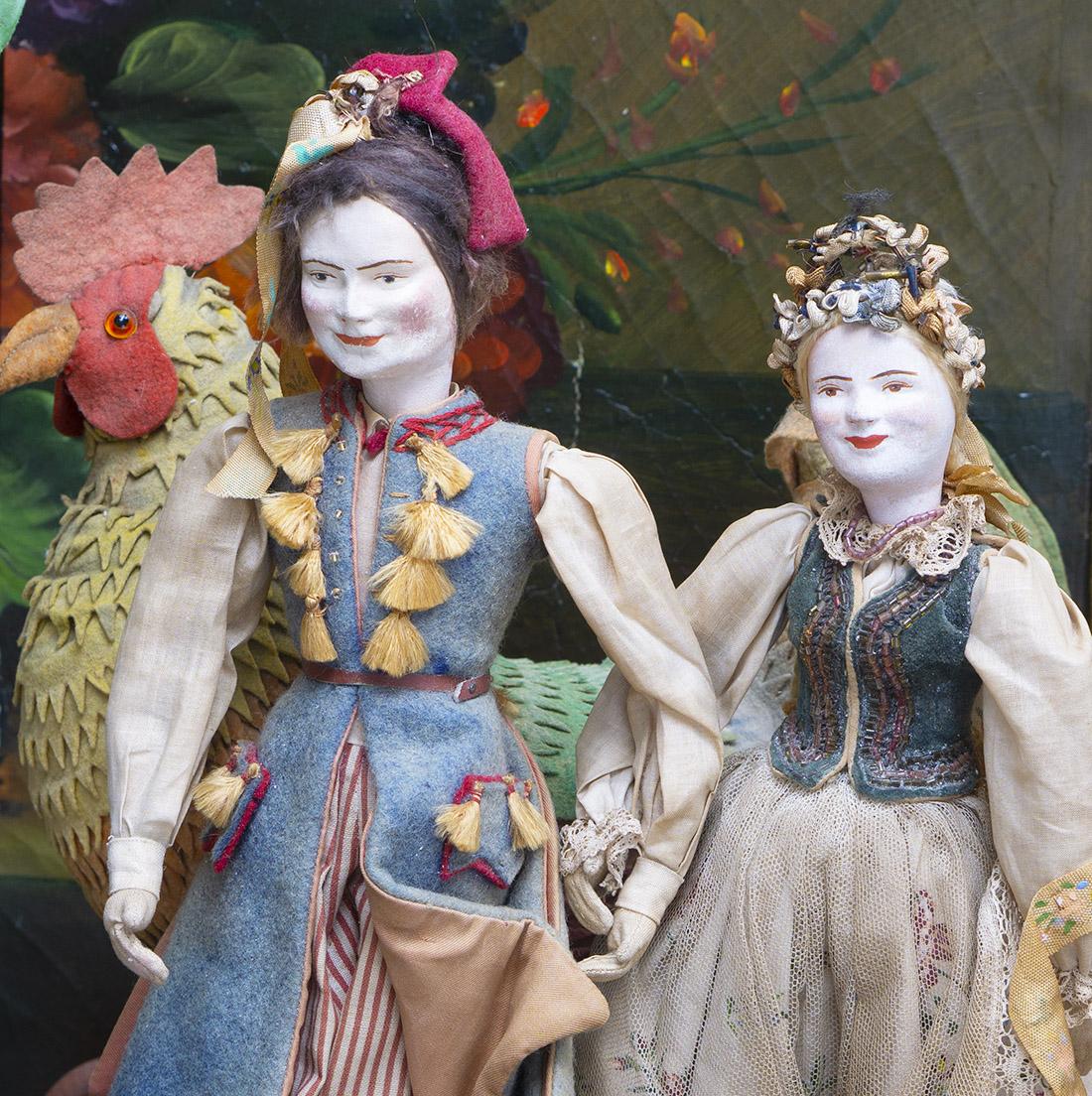 Two antique cloth dolls