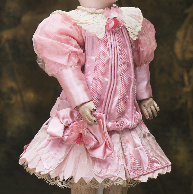 Antique Silk dress for 13-14in doll