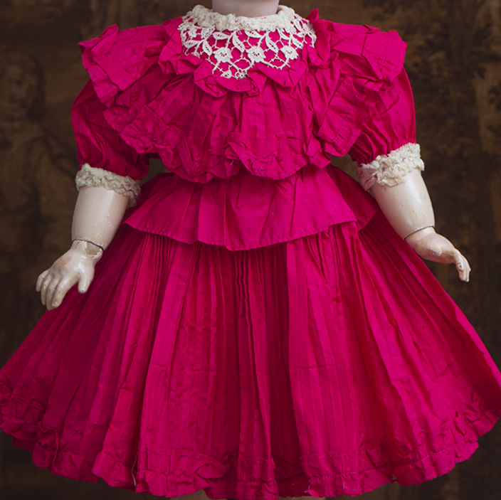 Antique Red Pleated Silk Dress