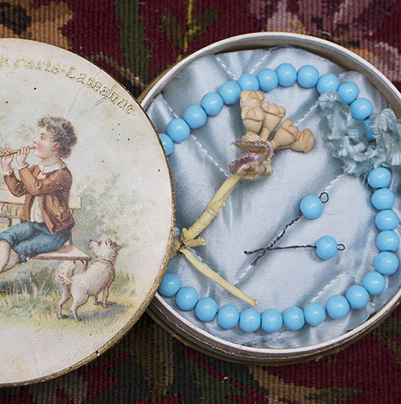 Antique Doll Blue Bead Necklace
