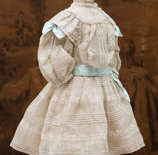 Antique French Cream Silk Dress for doll about  26