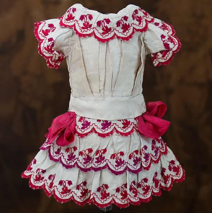 Antique French Silk Dress w.red embroidery