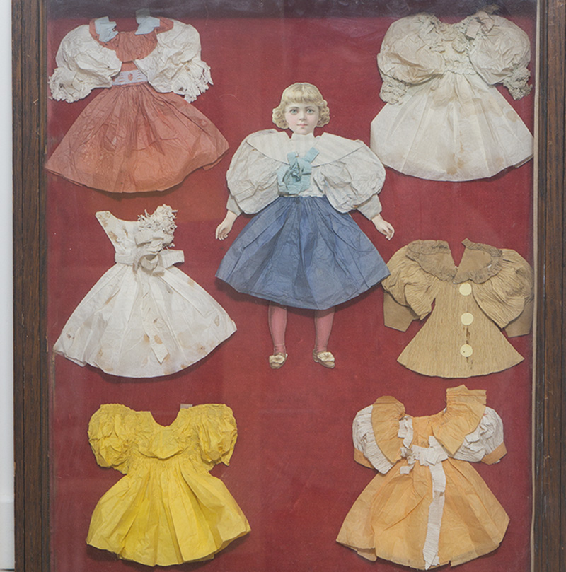 Paper doll and clothes in frame