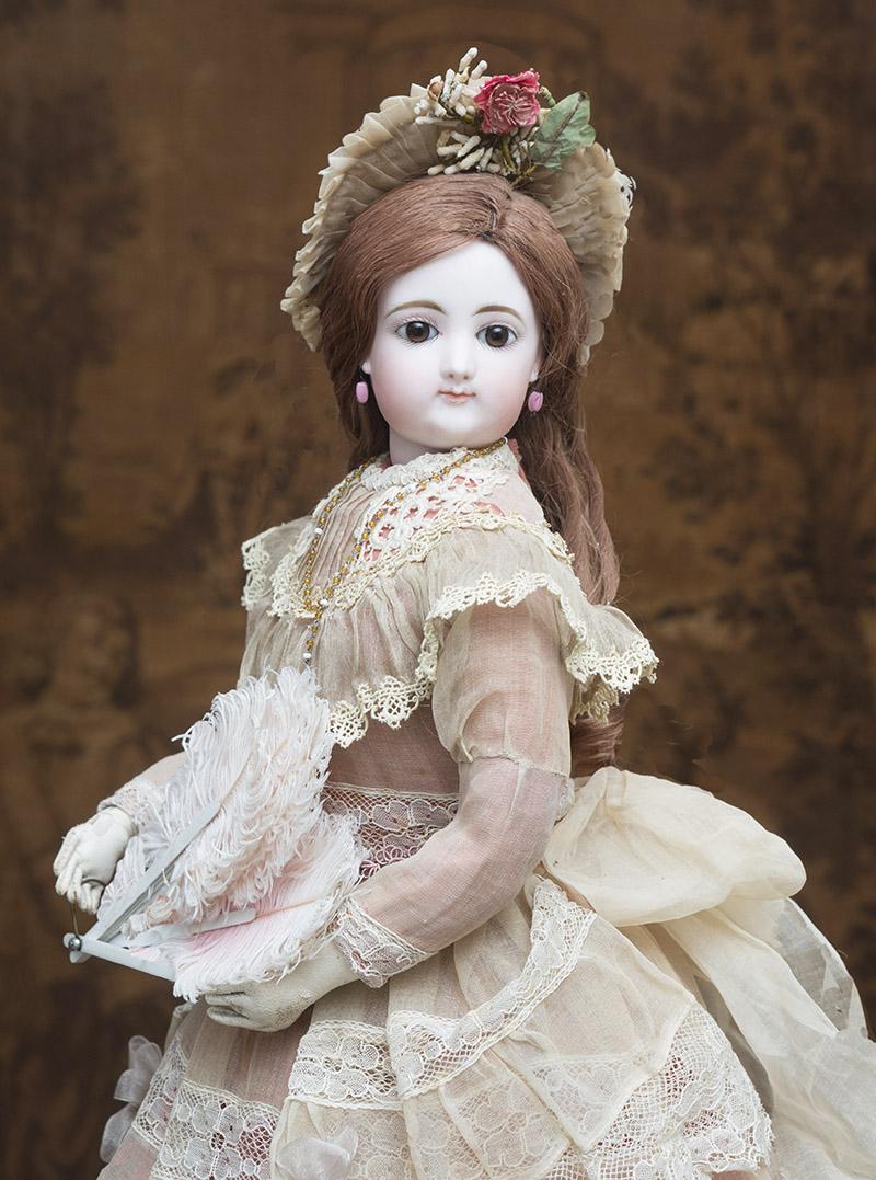 58 см Ранняя Модная кукла Gaultier  в старинном платье с аксессуарами, 1870-е годы