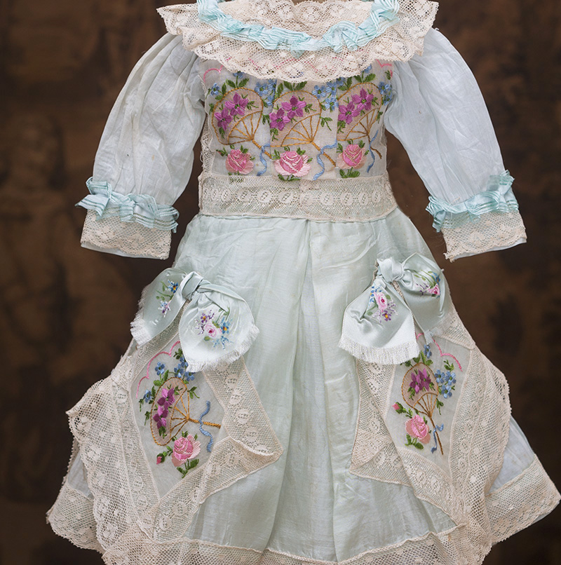 Antique Aqua Silk Dress with embroidery for doll