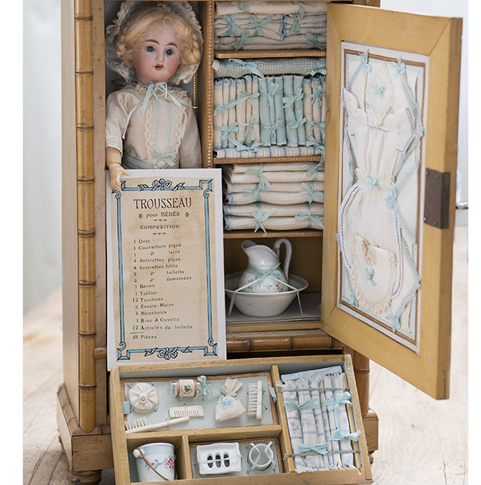 French Armoire with doll and Fitted Lines