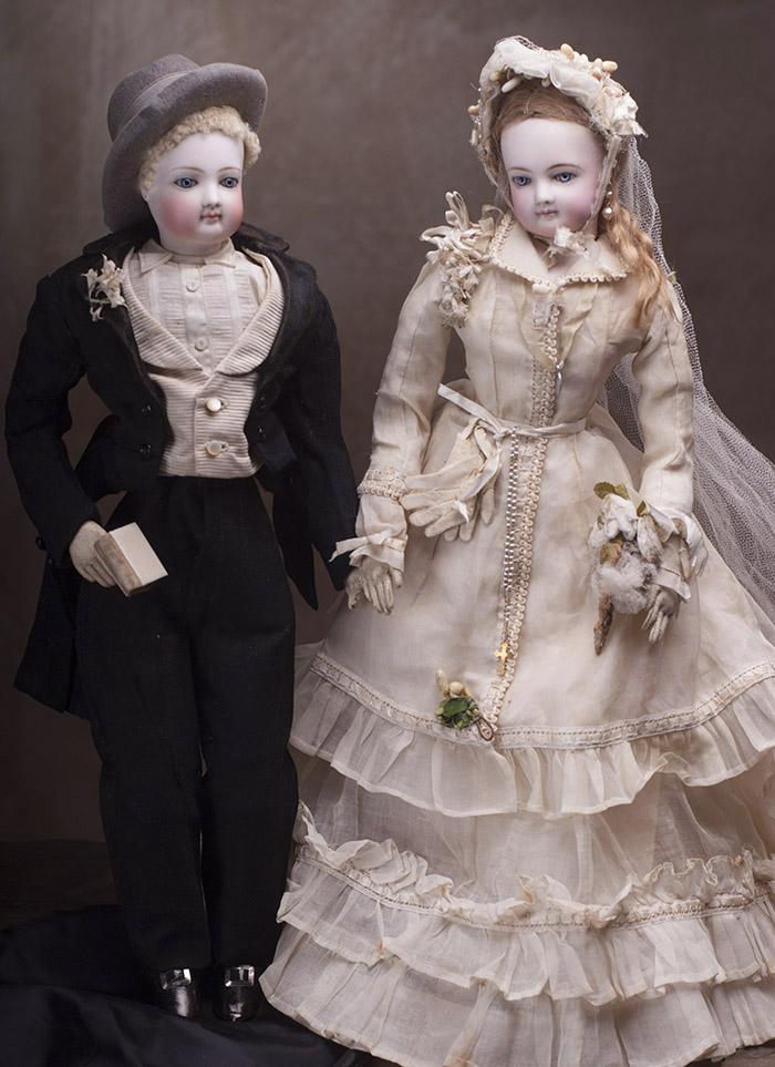 Жених и Невеста фирмы Jumeau в оригинальной коробке - Париж, 1870-е годы