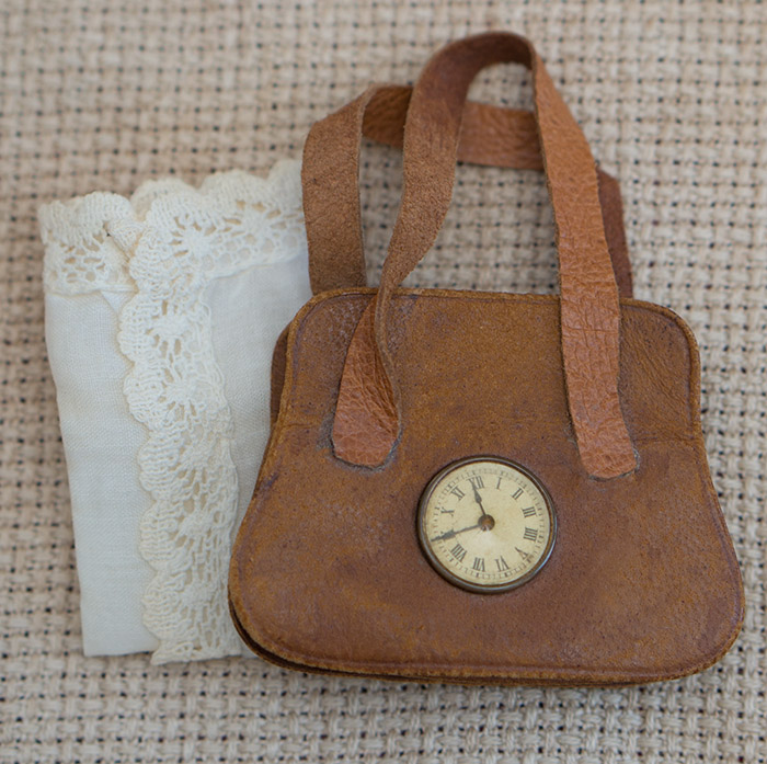 Antique Satchel + handkerchief