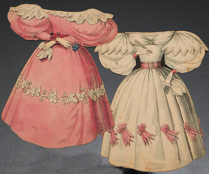 2 paper dresses by Ackermann, c.1830.