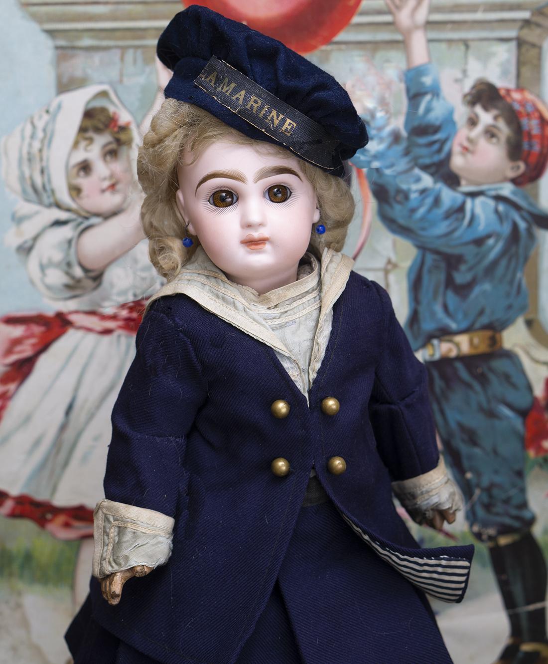 34 см Французская кукла Вebe Jumeau в оригинальном морском костюме, рекламная модель
