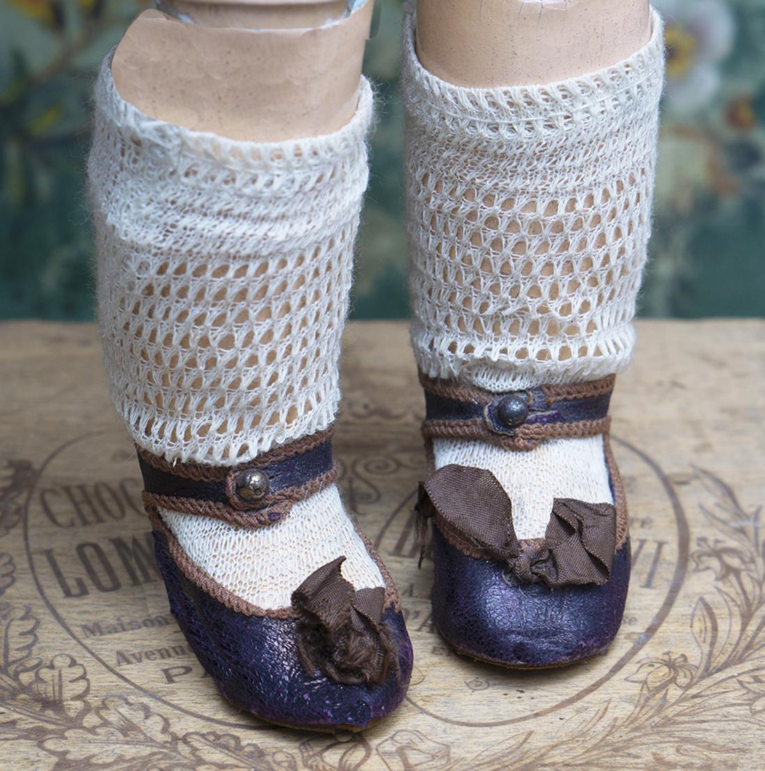 Antique Jumeau shoes, socks
