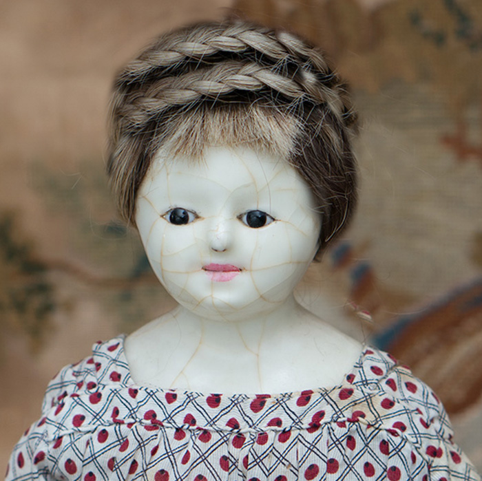 Antique English wax doll, c.1850