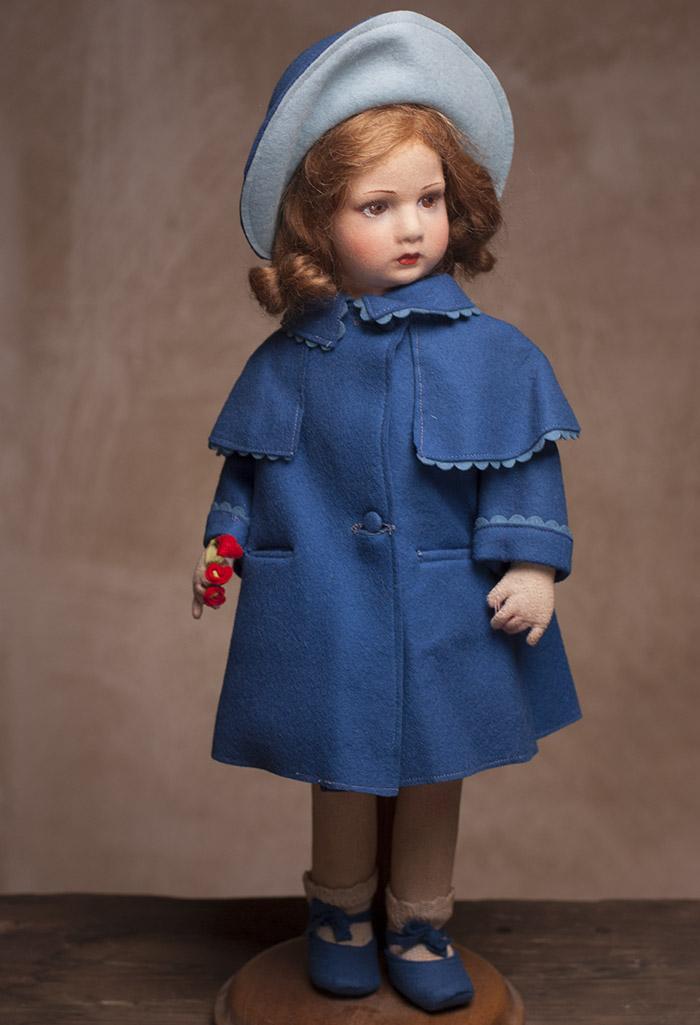 Кукла LENCI Девочка в синем пальто - Италия, 1930г.