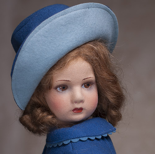 Lenci Felt Girl Doll in blue coat