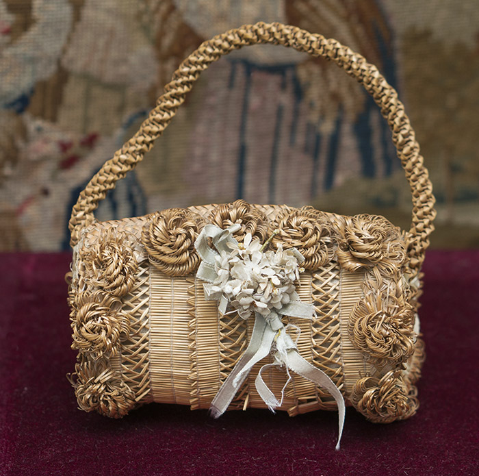 Antique Straw Bag for doll