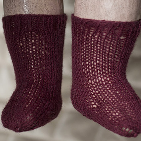Antique burgundy doll socks