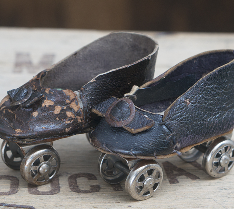 Antique French Doll Roller Skates Shoes