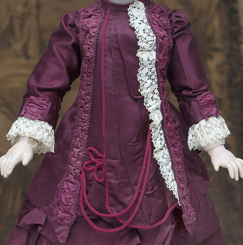 Antique Burgundy silk dress for doll